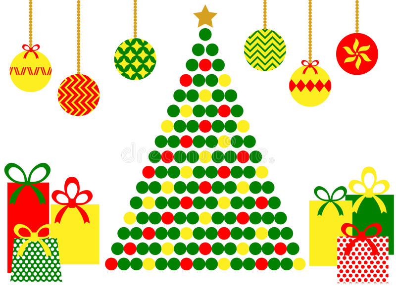 Albero di Natale astratto con i regali royalty illustrazione gratis
