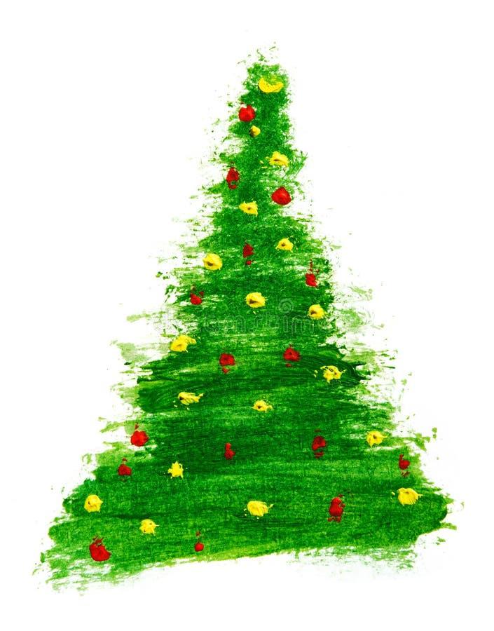 Albero di Natale astratto dipinto con le pitture acriliche su bianco illustrazione di stock