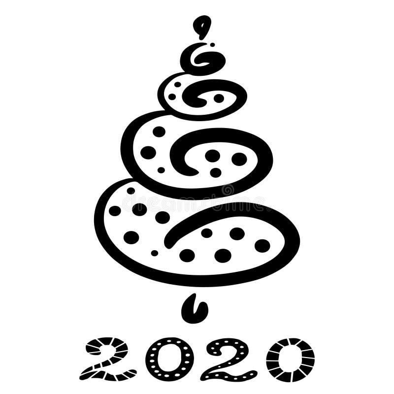 Albero di Natale astratto disegnato a mano Clipart per le feste nuovo anno e Natale di progettazione Contorni neri, linee illustrazione di stock