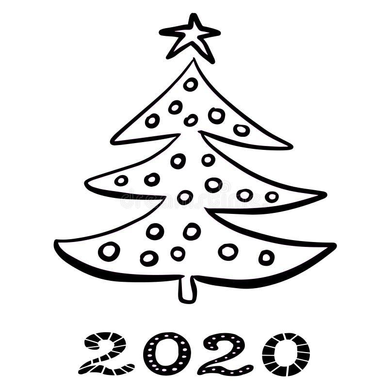 Albero di Natale astratto disegnato a mano per le feste nuovo anno e Natale di progettazione Contorni neri Isolato su priorit? ba illustrazione di stock