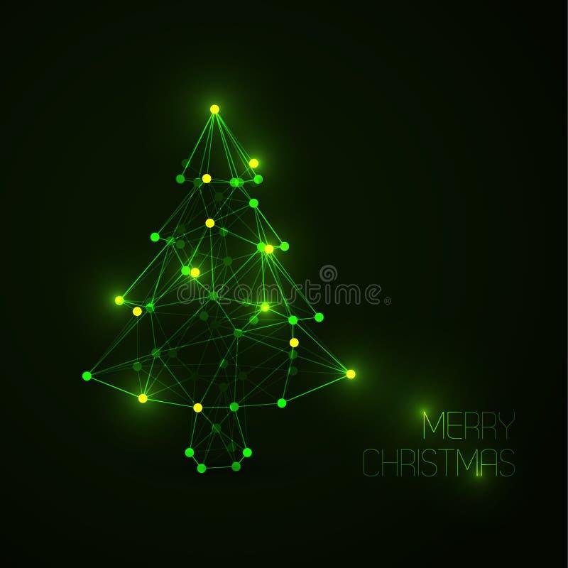 Albero di Natale astratto fatto dalle linee leggere e dai punti illustrazione vettoriale