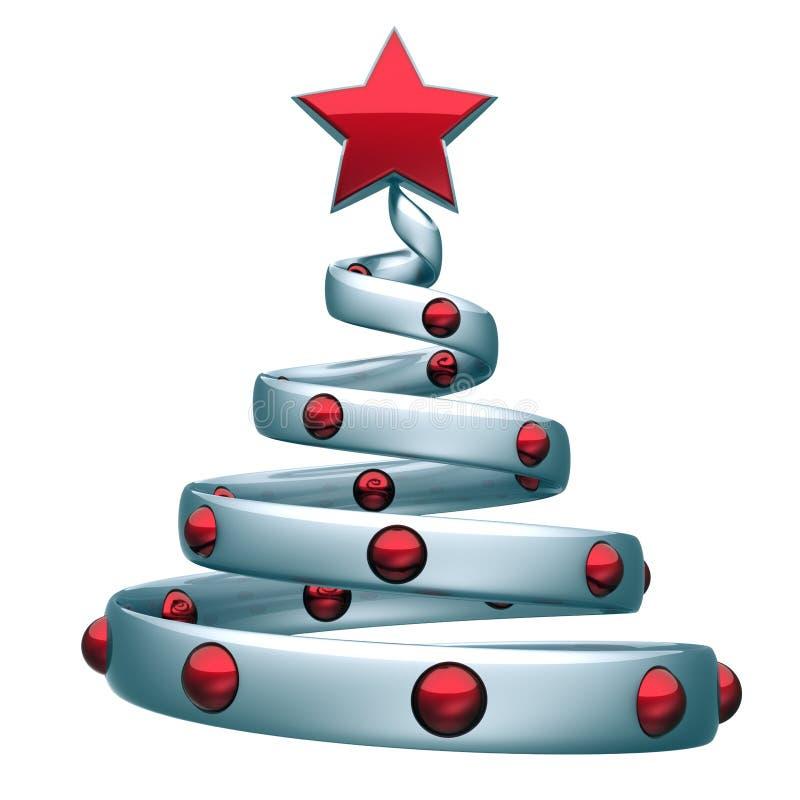 Albero di Natale bianco argento dorato decorato con palle di stelle rosse stilizzate illustrazione vettoriale