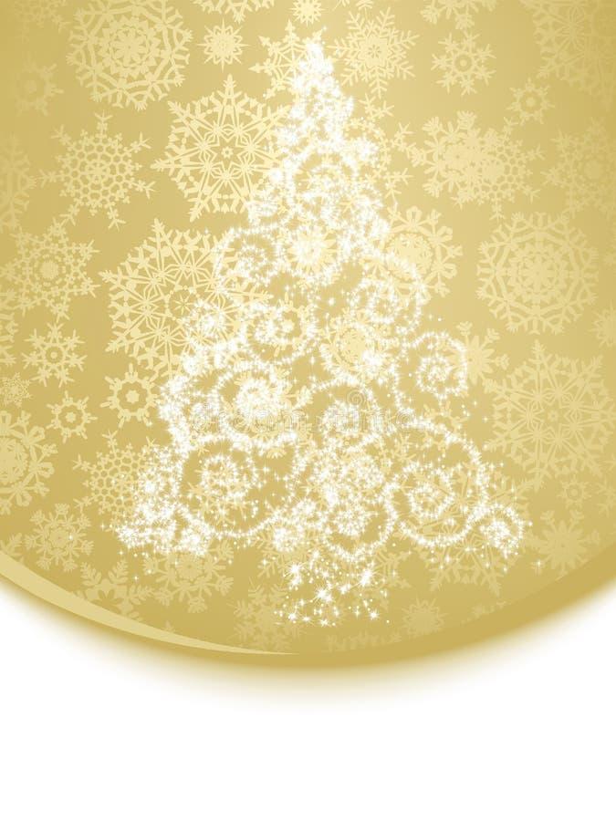 Albero di Natale bianco astratto su dorato. ENV 8 illustrazione vettoriale
