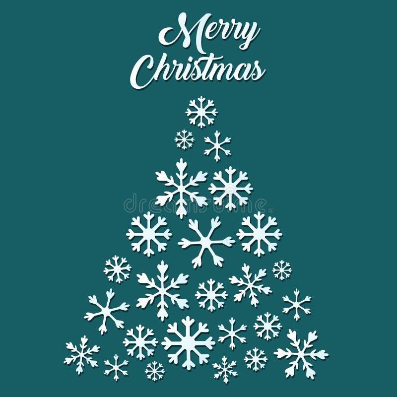 Albero di Natale bianco del fiocco di neve su fondo verde royalty illustrazione gratis