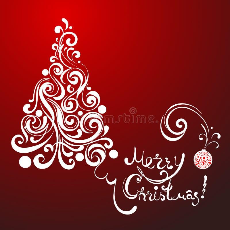 Albero di Natale bianco del pizzo su fondo rosso illustrazione vettoriale