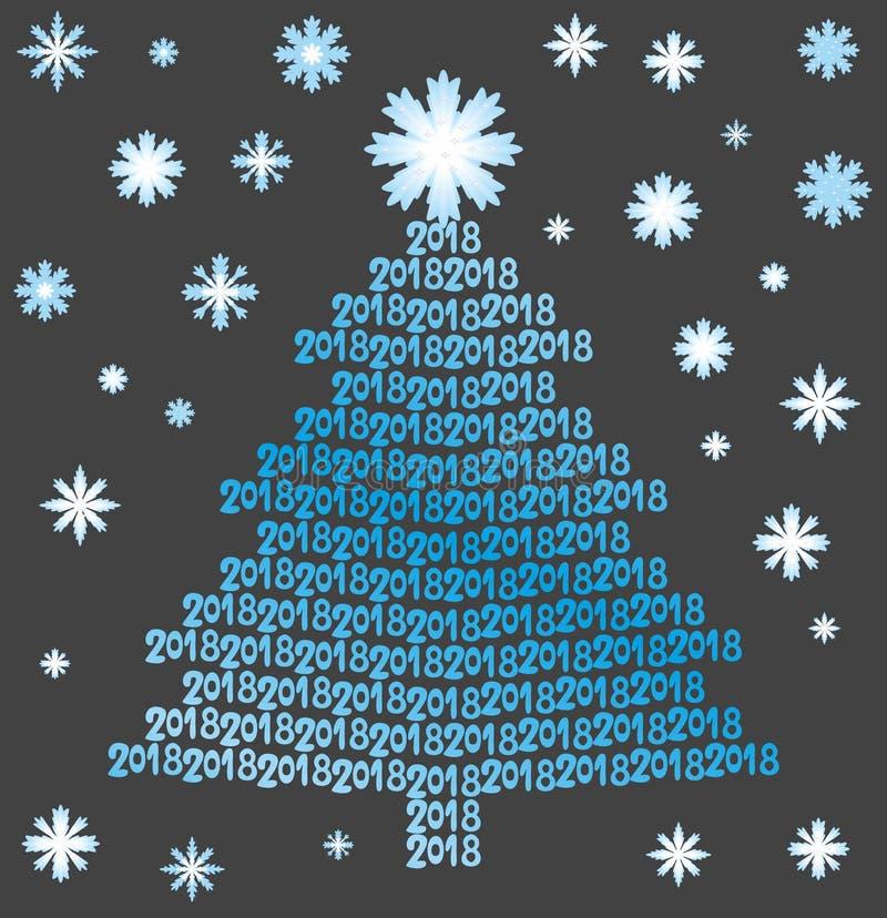 Albero di Natale blu dai numeri 2018 con i fiocchi di neve sui precedenti neri illustrazione di stock