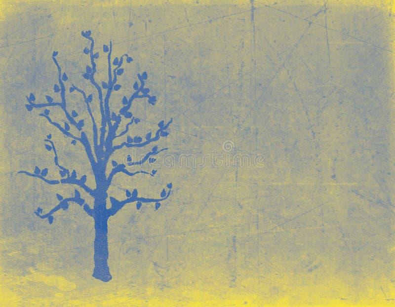 Albero di Natale blu su fondo grungy illustrazione di stock