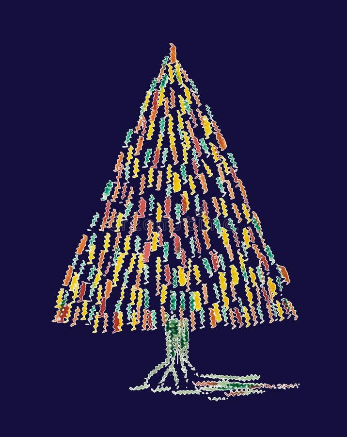 Albero di Natale capriccioso astratto su un fondo blu royalty illustrazione gratis