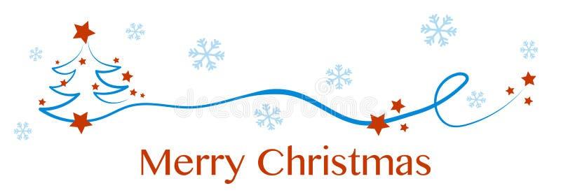 Albero di Natale, cartolina d'auguri Buon Natale con abete e le stelle nevosi nel cielo e sull'albero royalty illustrazione gratis