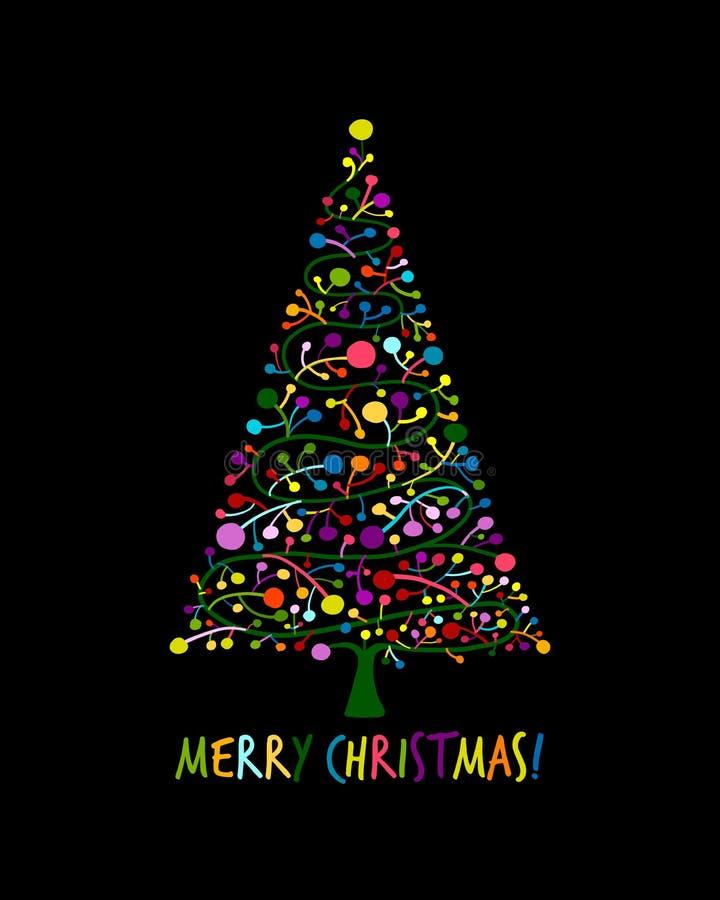 Albero di Natale, cartolina d'auguri per la vostra progettazione royalty illustrazione gratis