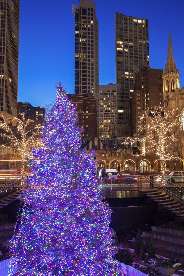Albero di Natale in Chicago immagini stock