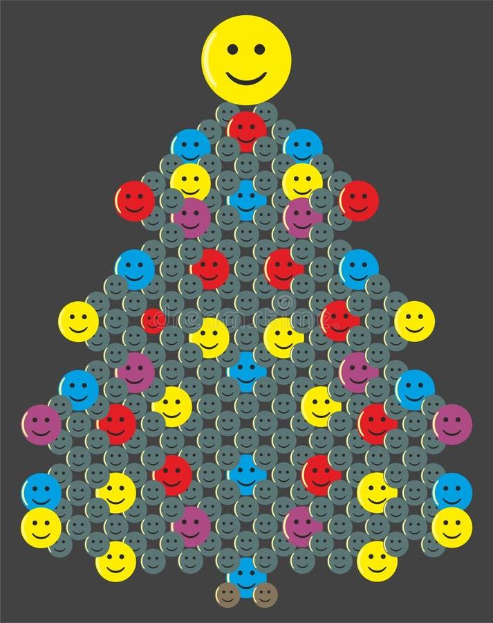 Albero di Natale con gli smiley sui precedenti scuri illustrazione di stock