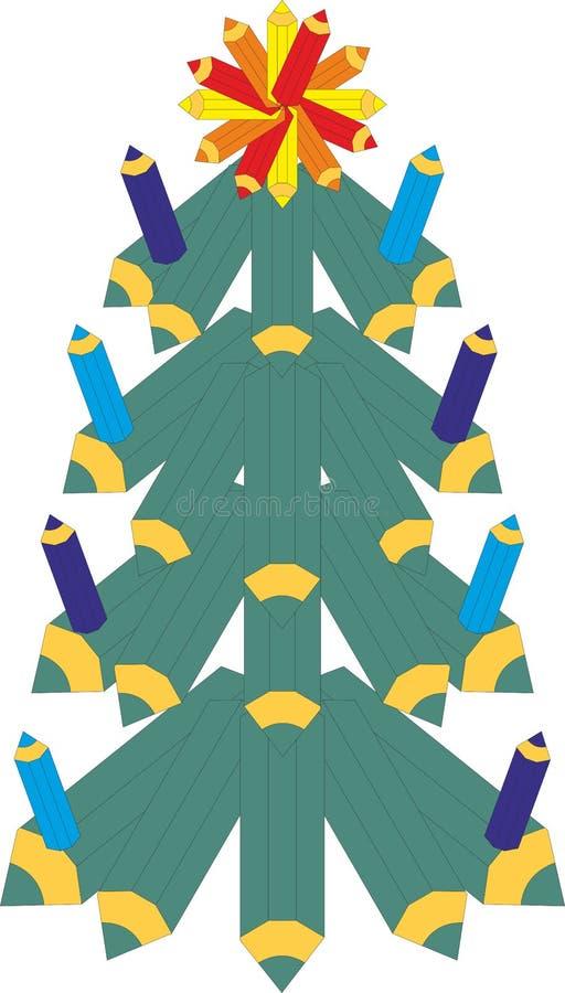 Albero di Natale con gli smiley sui precedenti scuri illustrazione vettoriale