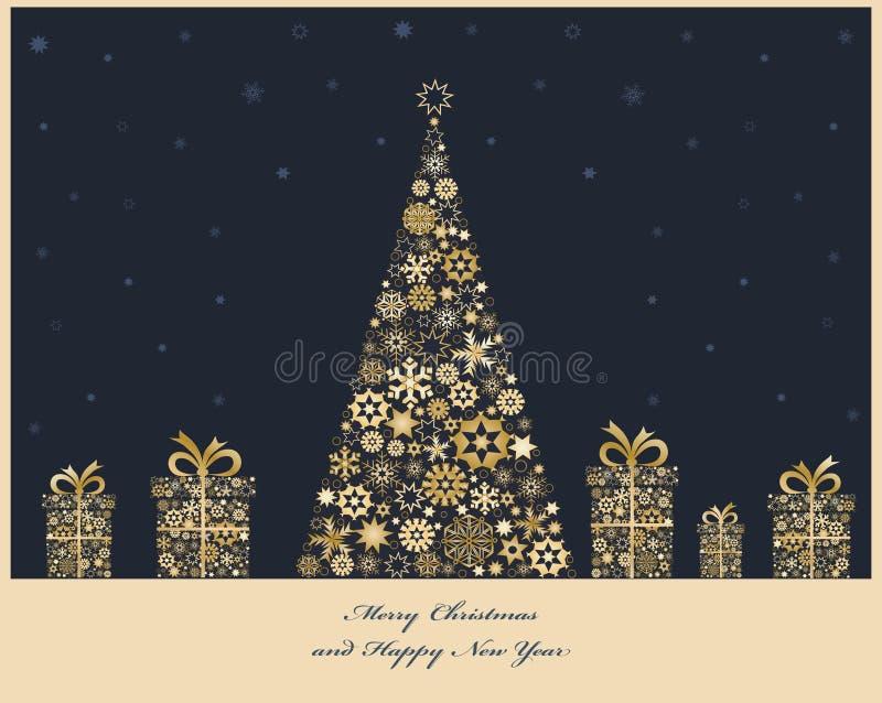 Albero di Natale con i contenitori di regalo fotografie stock libere da diritti