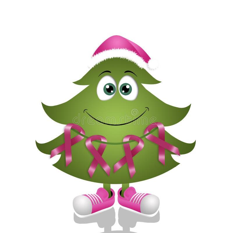 Albero di Natale con i nastri rosa di consapevolezza illustrazione vettoriale