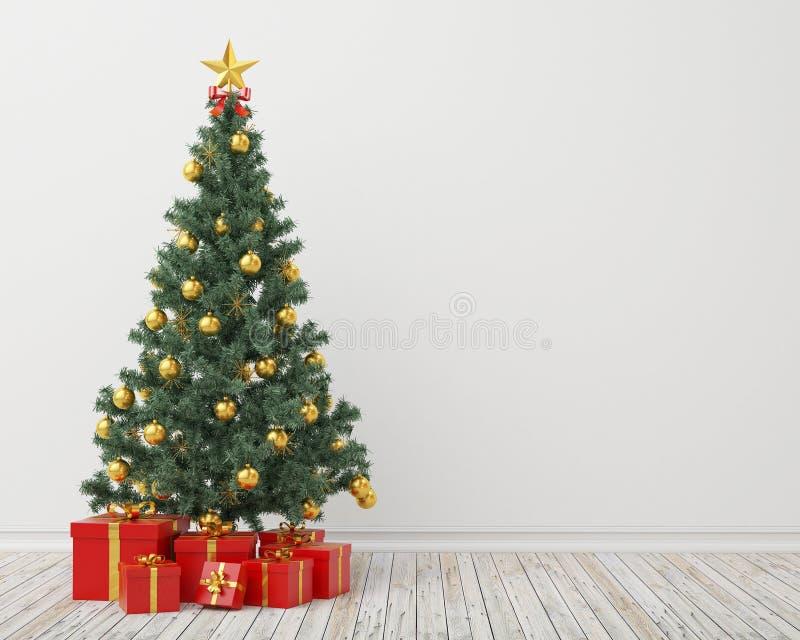 Albero di Natale con i presente nella stanza d'annata, fondo illustrazione di stock