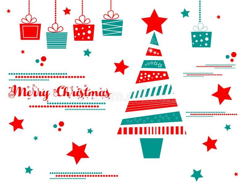 Albero di Natale con i regali illustrazione di stock