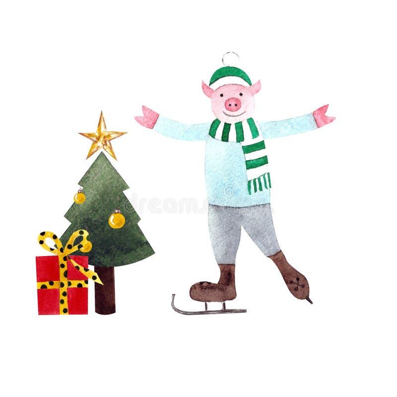 Albero di Natale con i regali ed il porcellino che pattinano sul fondo bianco Illustrazione dell'acquerello Disegnato a mano illustrazione di stock