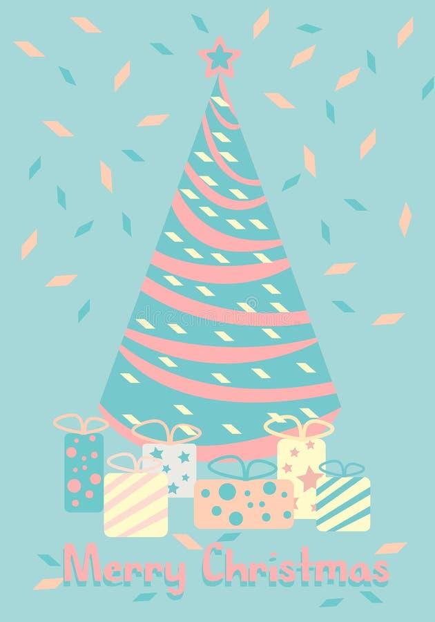 Albero di Natale con i regali Nuovo anno felice Colore pastello di vettore del fumetto illustrazione vettoriale