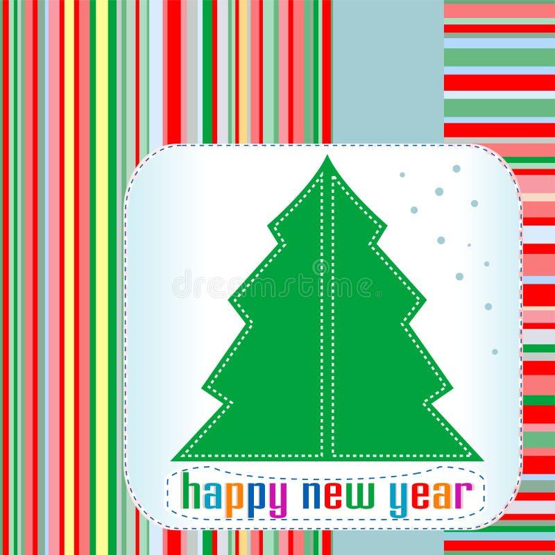 Albero di Natale con i saluti di nuovo anno felice illustrazione vettoriale