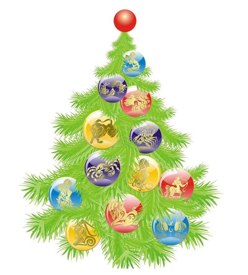 Albero di Natale con i segni della stella impostati illustrazione di stock