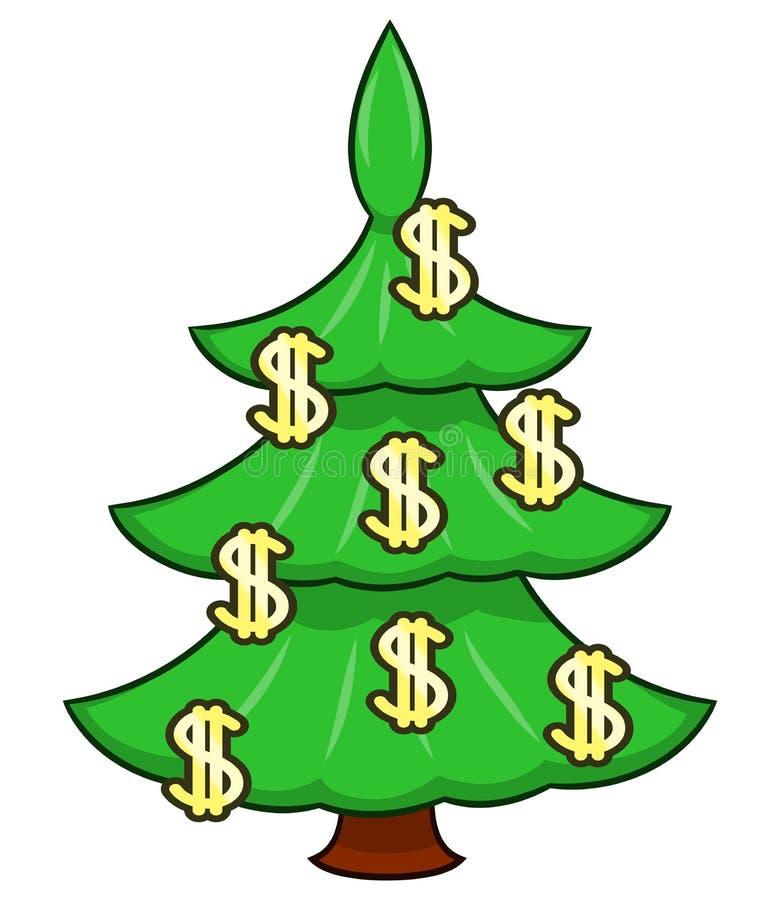 Albero di Natale con i simboli di dollaro illustrazione di stock