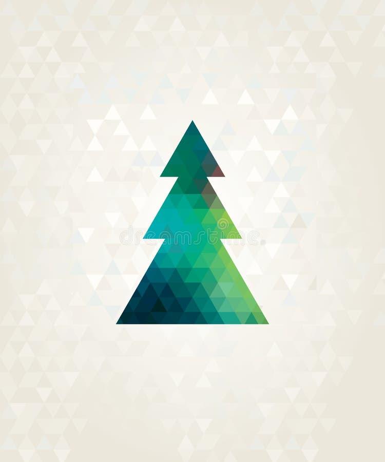 Albero di Natale con i triangoli variopinti illustrazione di stock