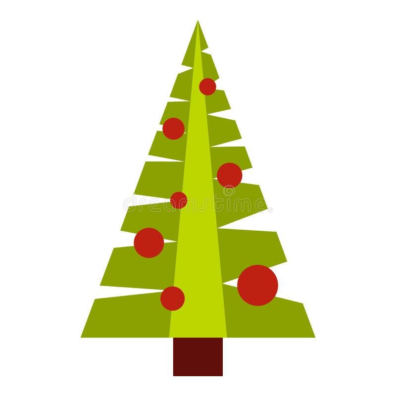 Albero di Natale con l'icona dei giocattoli, stile piano illustrazione di stock