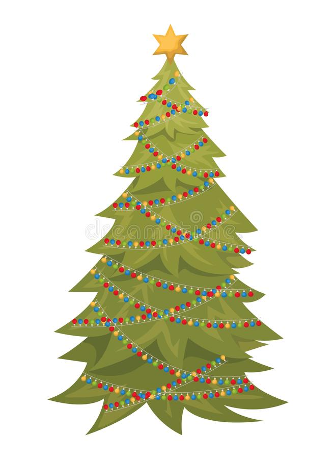 Albero di Natale con l'icona isolata palle d'attaccatura illustrazione vettoriale