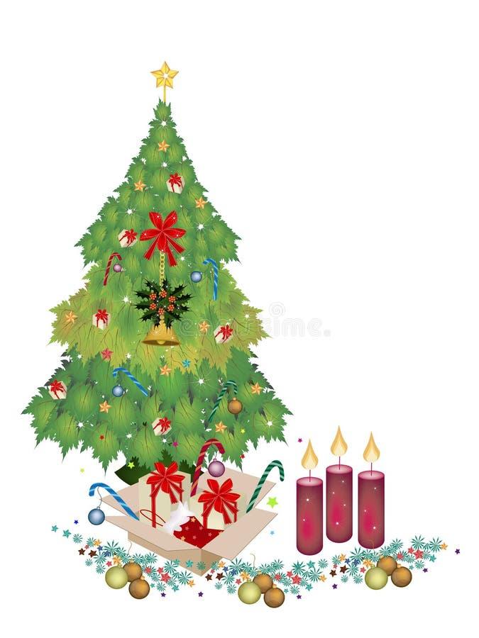 Albero di Natale con l'ornamento, i contenitori di regalo e la candela illustrazione di stock