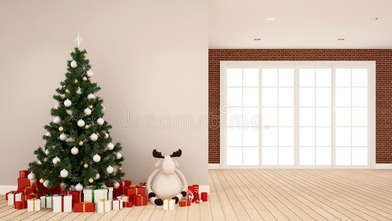 Albero di Natale con la bambola della renna ed il contenitore di regalo nella stanza vuota - materiale illustrativo per il giorno fotografia stock libera da diritti