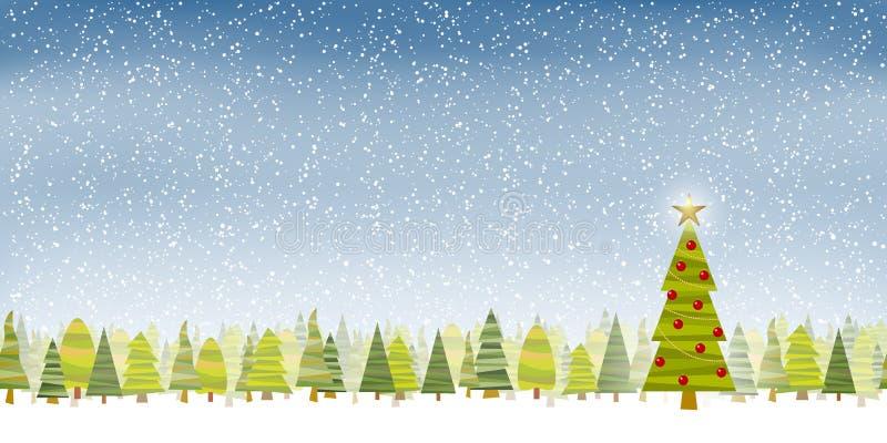 Foto Con La Neve Di Natale.Albero Di Natale Con La Neve Blu In Sottofondo Illustrazione Vettoriale Illustrazione Di Stella Disegno 162277132
