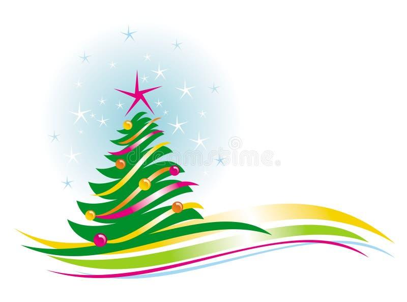 Albero di Natale con le bagattelle illustrazione di stock