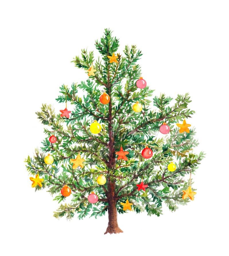 Albero di Natale con le bagattelle decorative watercolor fotografia stock