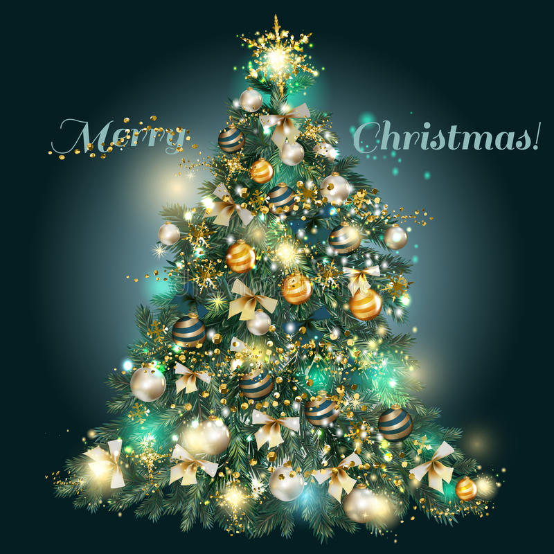 Albero di Natale con le bagattelle dorate, blu e d'argento, stelle, neve illustrazione vettoriale