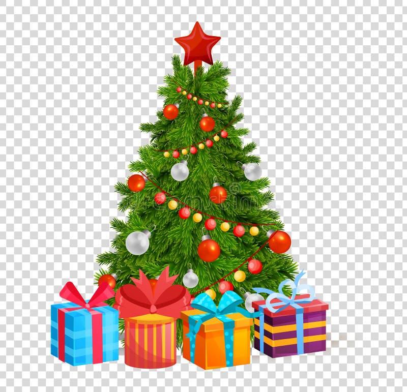 Albero di Natale con le belle palle, decorazioni Regali sotto l'albero di Natale illustrazione di stock