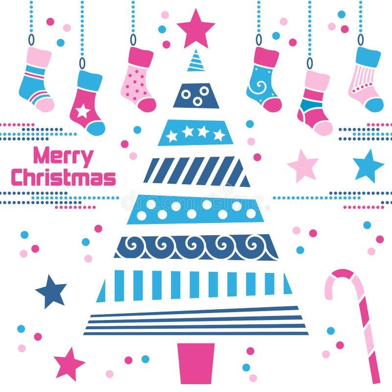 Albero di Natale con le calze illustrazione vettoriale