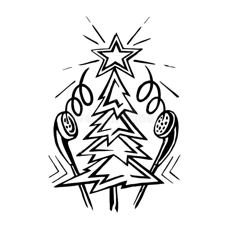 Albero di Natale con le cuffie di musica royalty illustrazione gratis