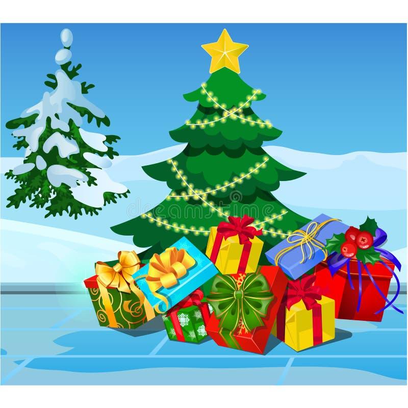 Albero di Natale con le decorazioni, contenitori di regalo, bagattelle, arco del nastro Campione del manifesto, invito di festa d royalty illustrazione gratis