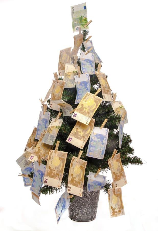 Albero di Natale con le euro note fotografia stock