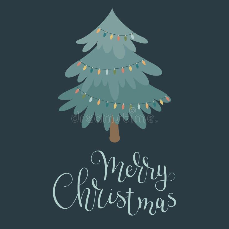Albero di Natale con le luci di Natale royalty illustrazione gratis