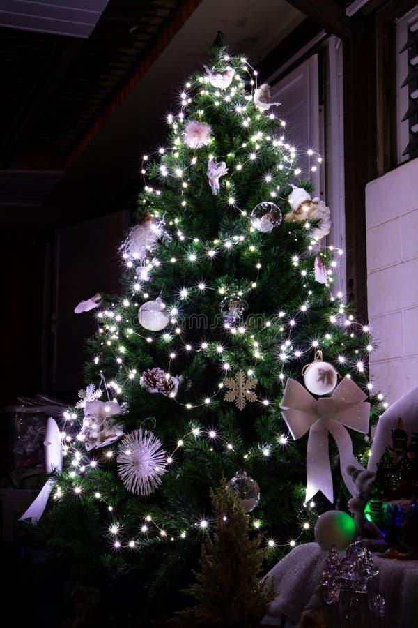 Albero di Natale con le luci bianche fotografia stock libera da diritti