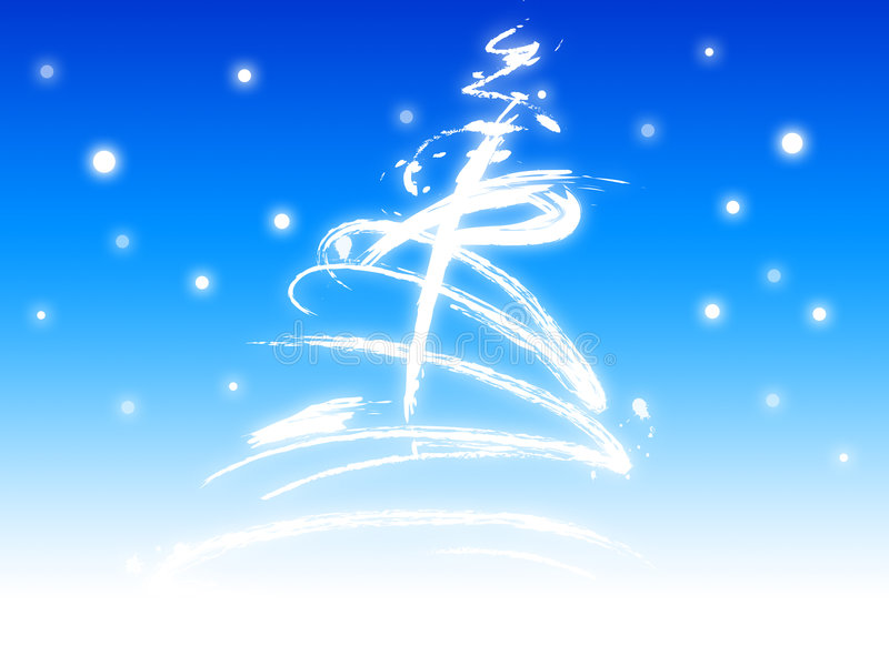 Albero di Natale con neve illustrazione vettoriale