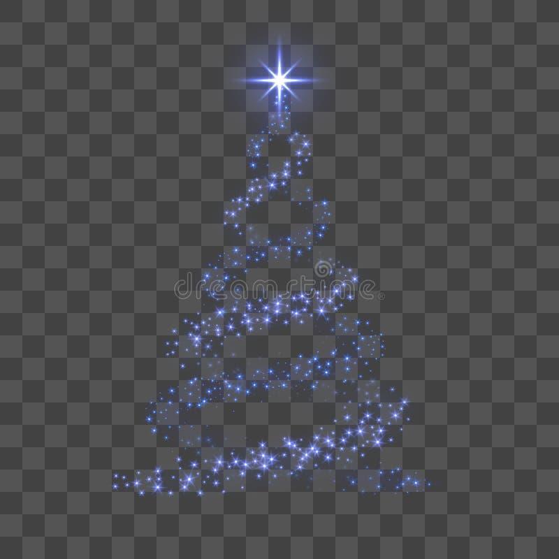 Albero di Natale 3d per la carta Priorità bassa trasparente Albero di Natale blu come simbolo del buon anno, Buon Natale illustrazione vettoriale