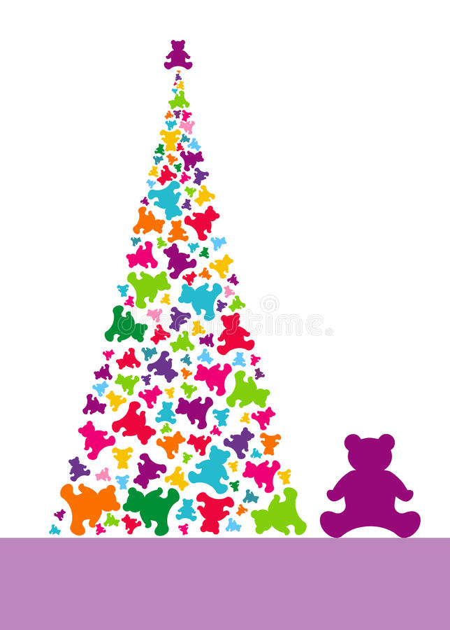 Albero di Natale dagli orsi di orsacchiotto immagini stock