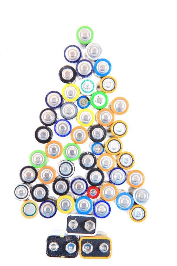 Albero di Natale dalle batterie fotografia stock
