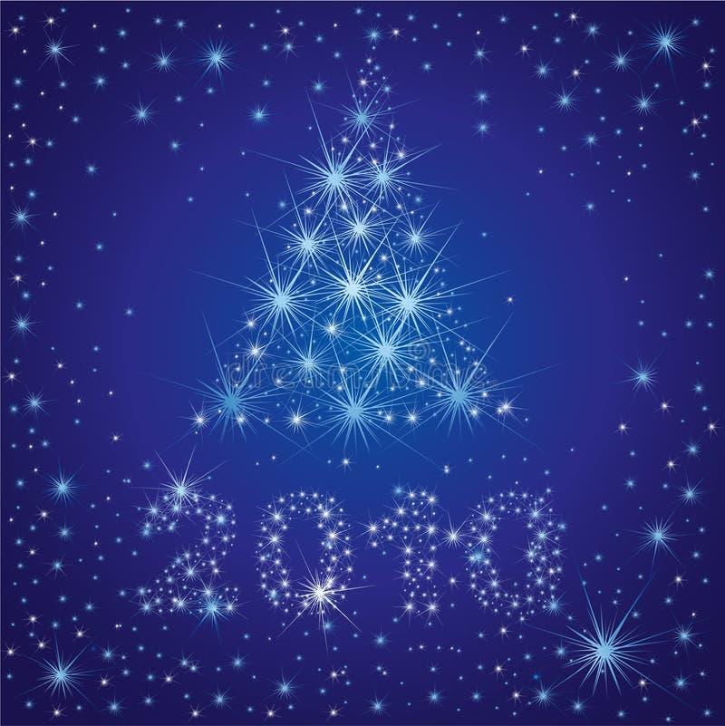 Albero di Natale dalle stelle sul cielo royalty illustrazione gratis