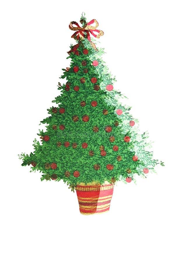 Albero di Natale/decorato illustrazione di stock