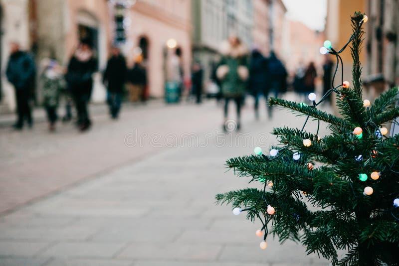 Albero di Natale decorato con le ghirlande colorate Via vaga nei precedenti fotografia stock libera da diritti