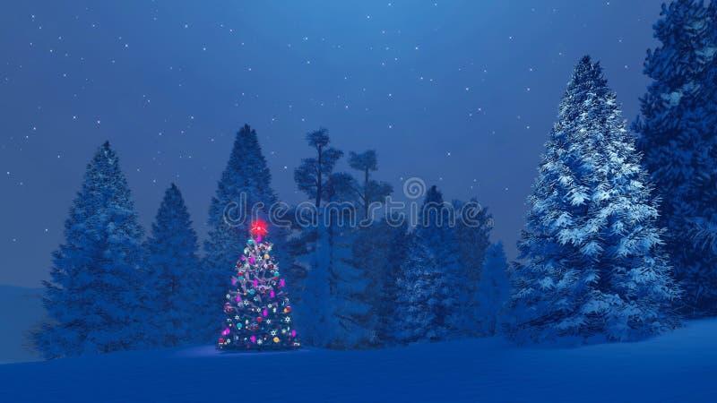 Albero di Natale decorato fra la foresta nevosa dell'abete alla notte illustrazione vettoriale
